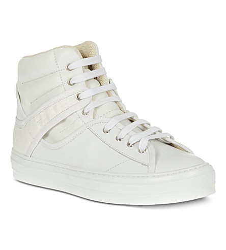 FERRAGAMO Pixy leather high tops (White