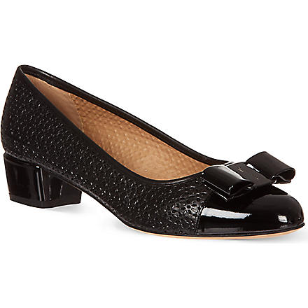 FERRAGAMO Vara perforated leather courts (Black