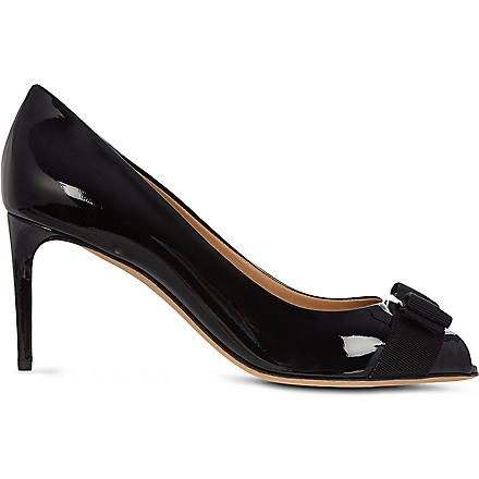 FERRAGAMO Pola patent leather courts (Black