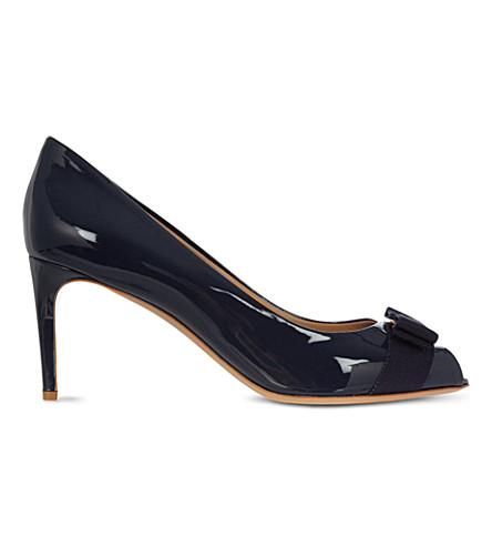 SALVATORE FERRAGAMO Pola patent-leather courts (Navy