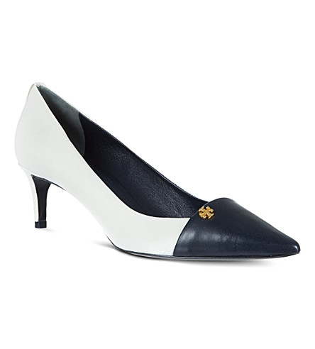 TORY BURCH Crawford leather court shoes (White/navy