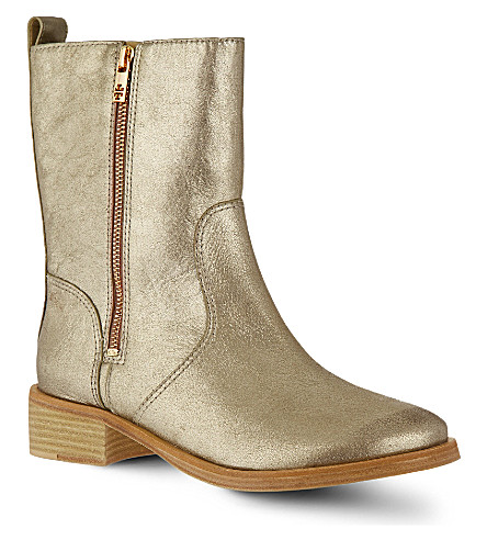 TORY BURCH Halle metallic ankle boots (Gold