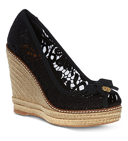 TORY BURCH Jackie lace wedge sandals (Black