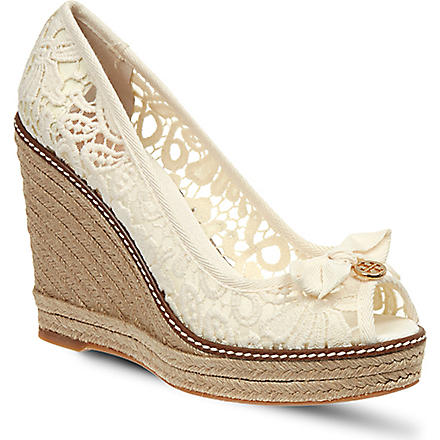 TORY BURCH Jackie lace wedges (White