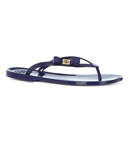 TORY BURCH Michaela bow flip flops (Blue