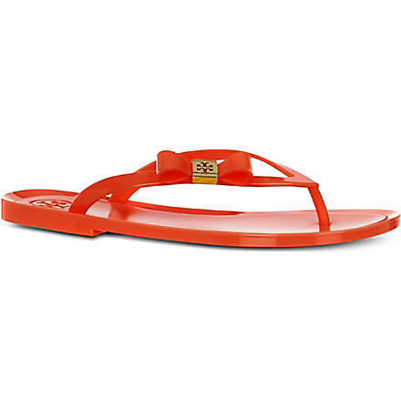 TORY BURCH Michaela bow flip flops (Orange