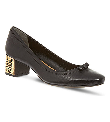 OLIVER SPENCER Bea leather court shoes (Black