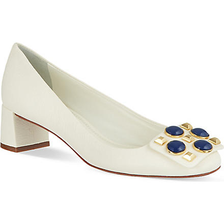 TORY BURCH Vanna embellished court shoes (Cream