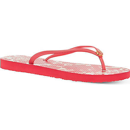 TORY BURCH Printed flip flops (Red