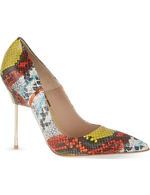 KURT GEIGER LONDON Britton snake-embossed leather courts