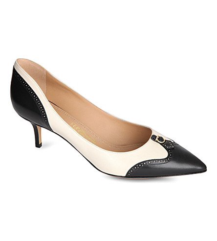 FERRAGAMO Neissa leather and suede court shoes (Blk/white