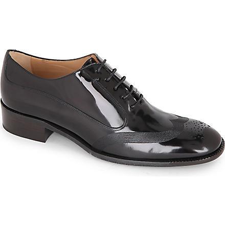 FERRAGAMO Nueda patent-leather brogues (Black