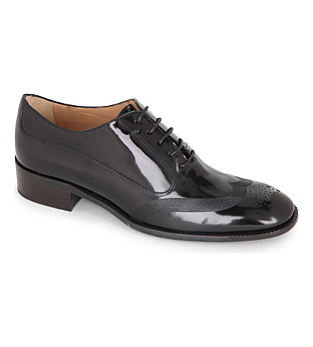 FERRAGAMO Nueda patent-leather brogues (Black
