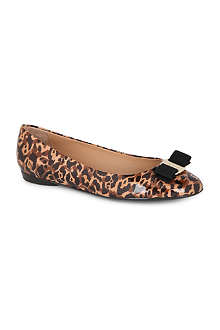 FERRAGAMO Varina patent-leather leopard-print pumps