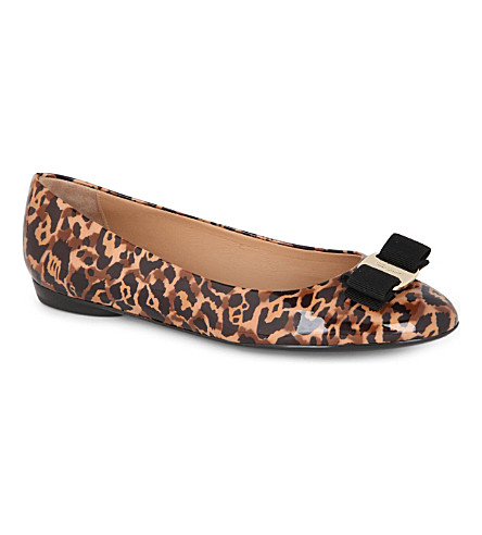 FERRAGAMO Varina patent-leather leopard-print pumps (Brown/oth