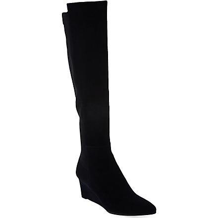 STUART WEITZMAN Demimimi suede knee-high boots (Navy