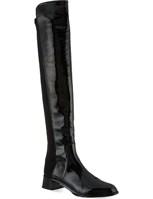 STUART WEITZMAN Fifo patent panelled thigh boots