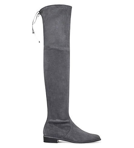 STUART WEITZMAN Lowland 绒面革大腿靴子 (灰色/深色