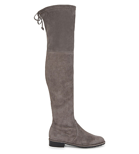 STUART WEITZMAN Lowland suede over-the-knee boots (Grey+mid