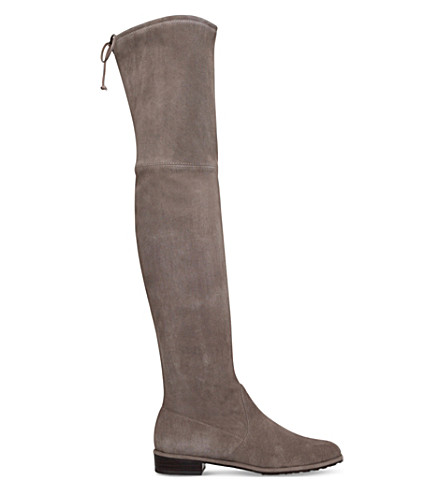 STUART WEITZMAN Lowland suede thigh boots (Taupe comb