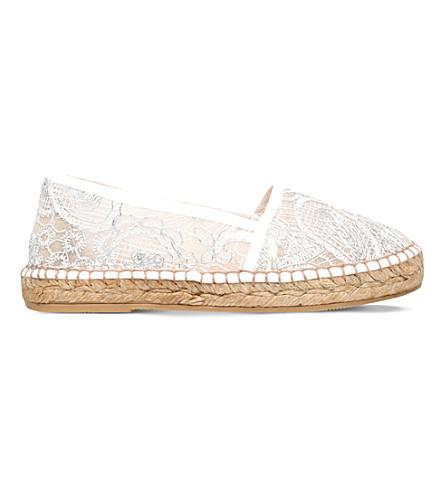 KURT GEIGER LONDON Blonda lace and mesh espadrilles (Silver