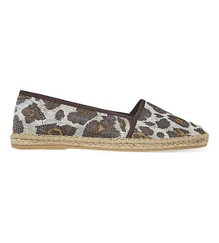 KURT GEIGER LONDON Blonda leopard print espadrilles (Silver+com
