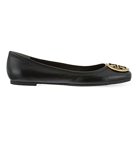TORY BURCH Reva leather ballet flats (Black