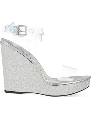 STUART WEITZMAN SeeYou 110 glitter wedge sandals