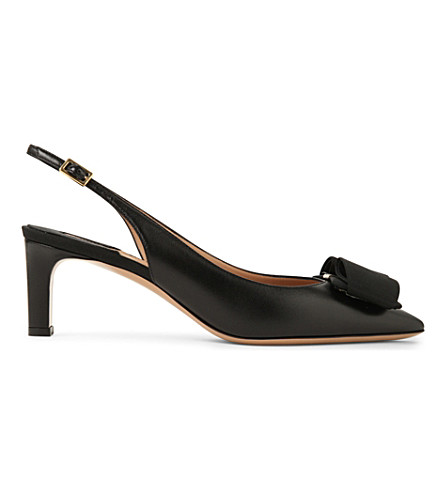 SALVATORE FERRAGAMO Mimi leather slingback courts (Black