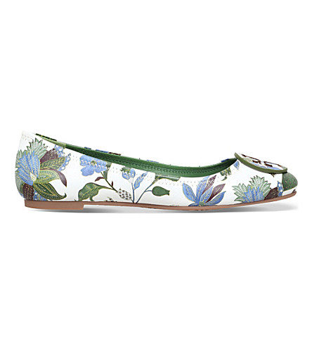 TORY BURCH Reva leather ballet flats (White/comb