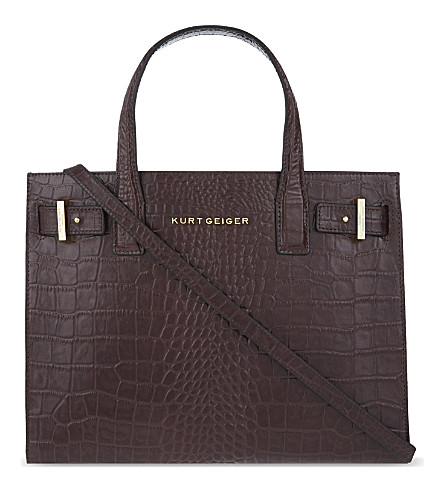 KURT GEIGER LONDON London crocodile-embossed leather tote (Wine