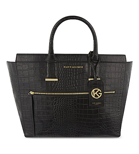 KURT GEIGER LONDON Croc Beatrice leather tote (Black