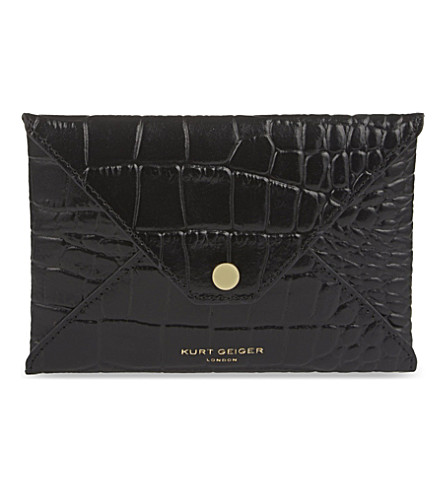 KURT GEIGER LONDON Crocodile-embossed leather passport holder (Black