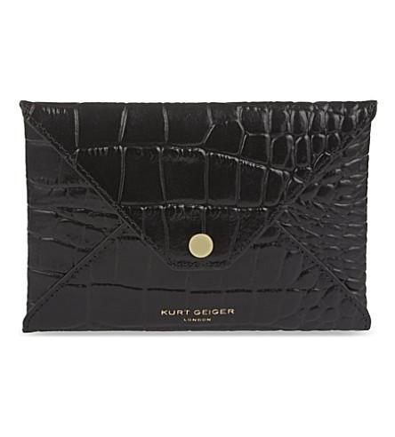 KURT GEIGER LONDON Crocodile-embossed leather passport holder (Black