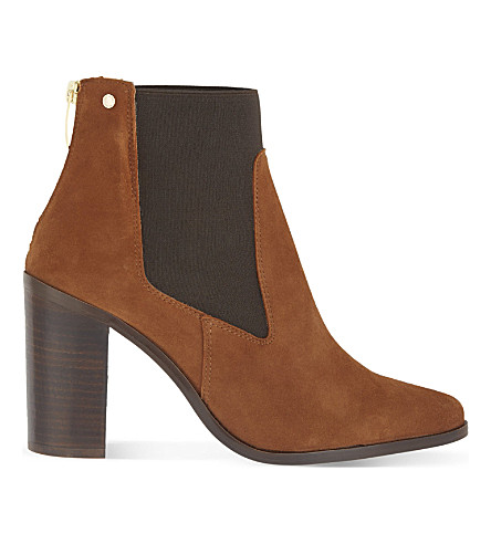 KURT GEIGER LONDON Dellow heeled suede chelsea boots (Tan