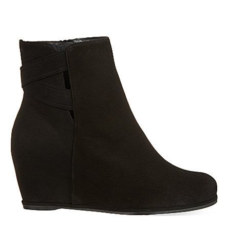STUART WEITZMAN Fitness suede wedge ankle boots (Black