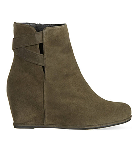 STUART WEITZMAN Fitness suede wedge ankle boots (Grey