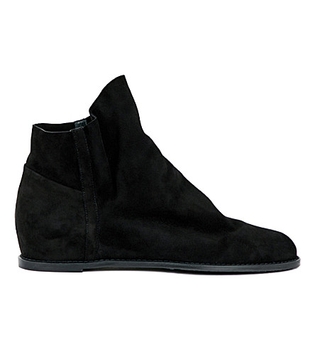 STUART WEITZMAN Sprite slouchy suede ankle boots (Black