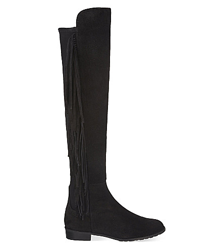 STUART WEITZMAN Mane fringed knee high boots (Black
