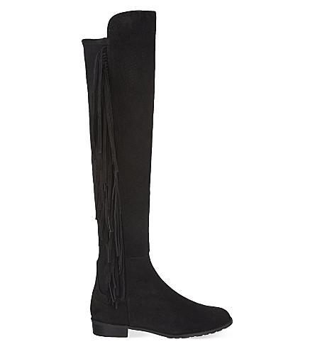 STUART WEITZMAN Mane fringed knee high boots (Black