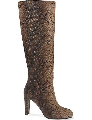 STUART WEITZMAN Yum snakeskin-texture leather boots