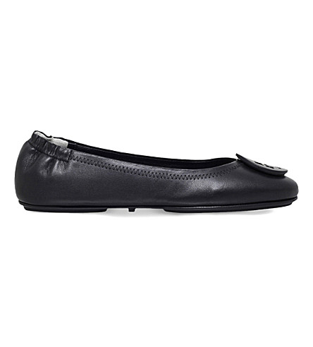 TORY BURCH Minnie travel leather ballerina flats (Black