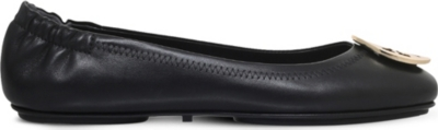 Black Minnie Travel Ballet Flat In Leather in Blk/Other
