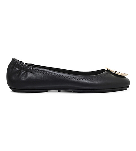 TORY BURCH Minnie travel leather ballet flats (Blk/other