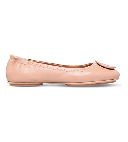TORY BURCH Minnie travel leather ballet flats (Nude