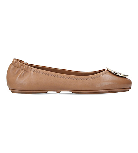 TORY BURCH Minnie leather travel ballet flats (Tan