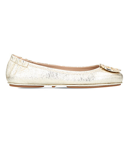 TORY BURCH Minnie Travel metallic leather ballet flats (Gold+comb