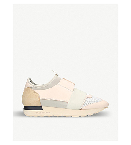 BALENCIAGA Race Runers leather and mesh trainers (Beige