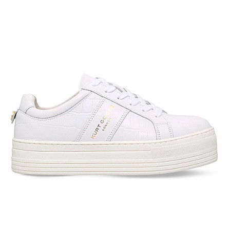 KURT GEIGER LONDON Ladbrook leather flatform trainers (White