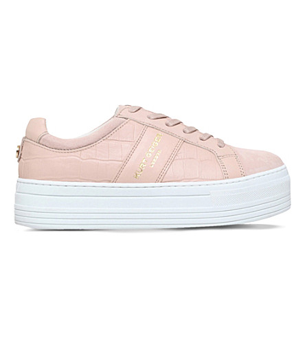 KURT GEIGER LONDON Ladbrook leather low-top flatform trainers (Pale+pink